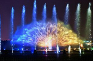 Laser water curtains add color to the city